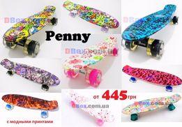 Скейт Пенни борд надпись Penny с рисунком 22 Nickel 28 свет колеса