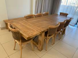 Corricraft dining table and chairs plus bench
