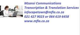 TRANSCRIPTION & TRANSLATION SERVICES IN CAPE TOWN