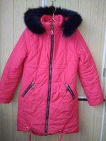 Коралловая тёплая куртка пальто пуховик для девочки