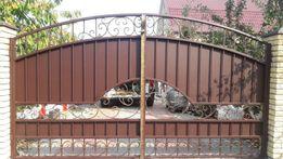 Ворота из профлиста. Калитка. Ворота из металла. Металические ворота