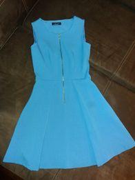 CLOSET niebieska sukienka blue dresses zapinana z przodu rozkloszowana