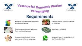 Vacancy for Domestic worker in Vereeniging