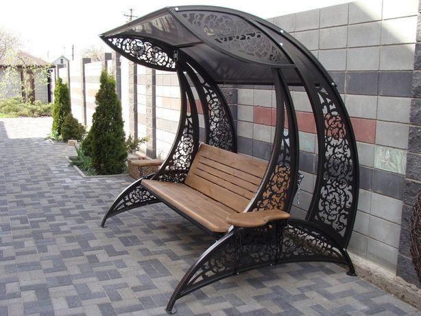 Качели садовые декоративные. Кованные качели черного цвета. Днепр - изображение 5