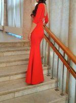 Красное выпускное, вечернее, красивое, длинное платье в пол.