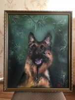 Картина маслом «Друг», собака, немецкая овчарка