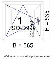 Okno PCV kol. biały szer. 565 x wys. 535 - ROZW-UCHYLNE - LEWE - PRAWE