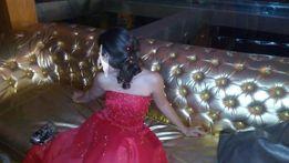 Платье в пол,алое,из салона,съёмный кринолин,на выпуск или др.торж.соб