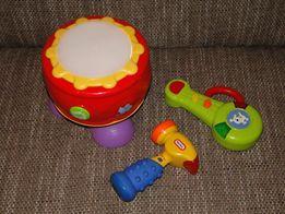 Bębenek, gitara, młotek -zabawki grające i świecące