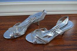Buty srebrne szpilki ważki wesele 5 38 kryształki NOWE eleganckie