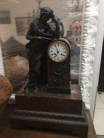Часы каминные бронзовые, мрамор, 19 век, Франция