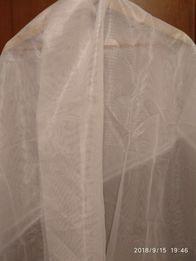 Отрез ткани сеточка тюль белая с блеском