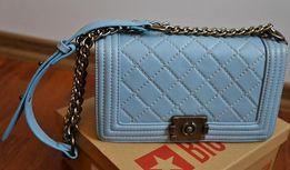 torebka pikowana łańuch pasek błękitna niebieska mała kopertówka butik