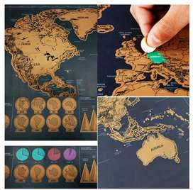 Gifts! Travel Scratch Map. Large Scrape-Off Earth Wall Poster For Adve