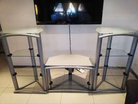 glass and metal TV stand