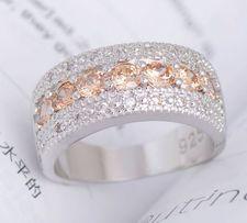 Великолепное широкое серебряное кольцо цирконии родировано