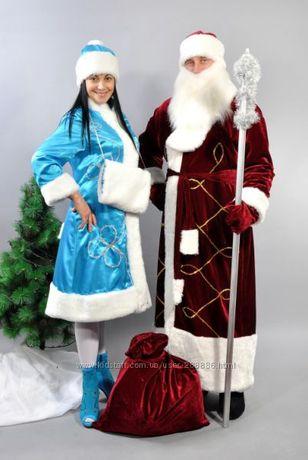 Комплект Костюм Дед мороз бордовый и Снегурочка бирюзовый Мелитополь - изображение 2