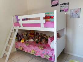 White Milan wood double bunk bed with potential of being 2 single beds