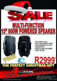 """Image of Audio Corp: 15"""" 800w Powered Speaker with AUX & Mic Input"""