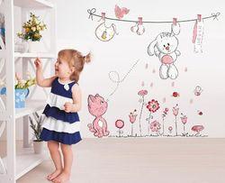 Naklejki ścienne na ścianę do pokoju dziecięcego Miś, Kotek WS-0049