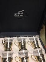 Чайный сервиз с ложками Chinelli - подстаканники серебро.