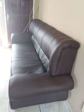 6 Piece Brown Leather Couch For Sale