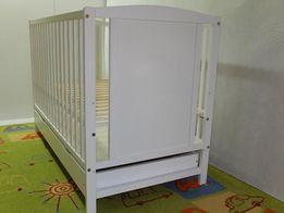 Łóżeczko dziecięce z szufladą, BIAŁE NOWE + NOWY MATERAC 40zł + wysyłk