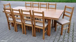 Agata zetaw duzy stol +10 krzesel ze szczebelkami dab rustykal tanio