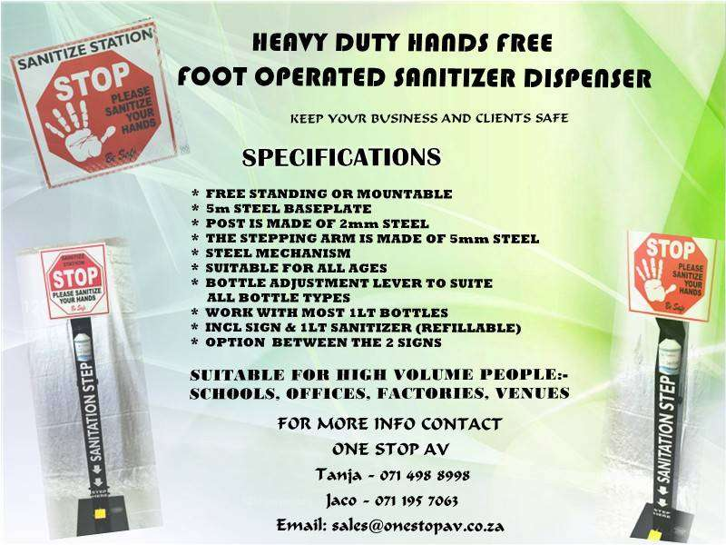 Heavy Duty Hands Free Foot Operated Sanitizer Dispenser 0