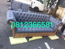 Chesterfield 3 seater with 2 wingback chairs