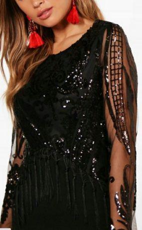Sukienka Boohoo r. 34/36 czarna cekiny nowa z metką Chęciny - image 2