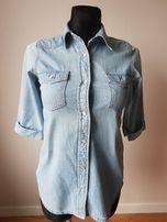 F&F Jeansowa Jasna Modna koszula 36 S