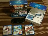 Image of Ps Vita with 3 games and box