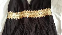 платье из шифона, нарядный сарафан, с золотым шитьём, размер 44