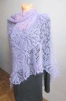 Wrzosowa chusta ażurowa na drutach