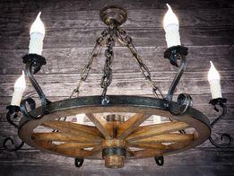 Lampa do altany ogrodowej Żyrandol z koła od wozu75cm