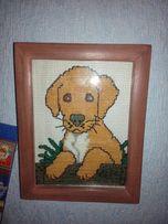 Картина крестиком собака щенок