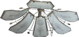 8 Panel Gold Plated Chandelier