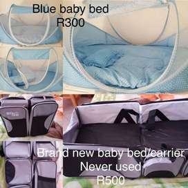 Blue baby bed and Grey baby bed/bag/carrier