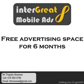 Free mobile advertising space for 6 months