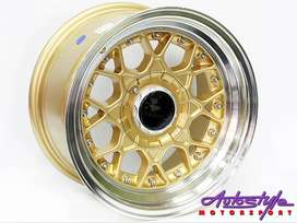15 inch BSS 4-100 and  4-114 GOLD Alloy wheels, Polished lip, Gold stu