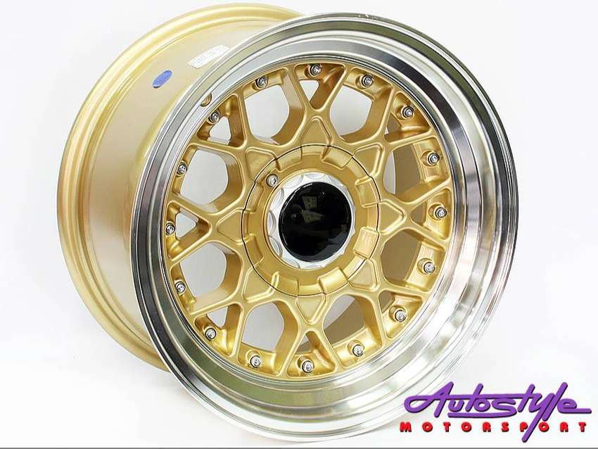 15 inch BSS 4-100 and  4-114 GOLD Alloy wheels, Polished lip, Gold stu 0