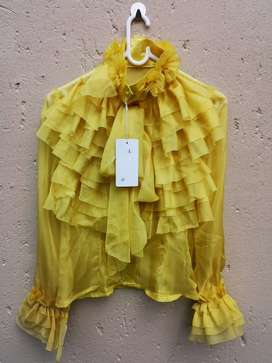 Bowknot Long Sleeve Ruffle Blouse - Yellow