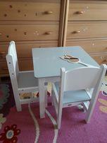 Komplet drewniany stół ze schowkiem (50x50) + 2 krzesła dla dzieci