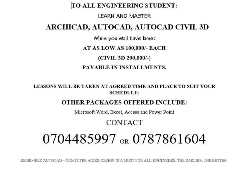 PRIVATE AND GROUP TUTORIALS IN AutoCAD, ARCHICAD, CIVIL 3D 0