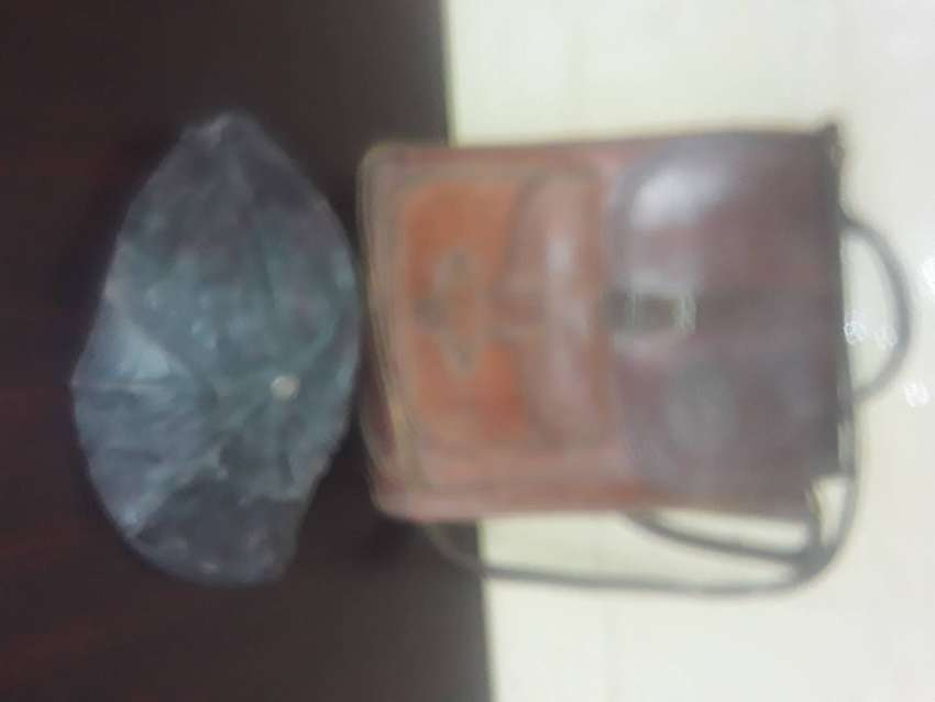 Antique genuine leather bag and hat for sale