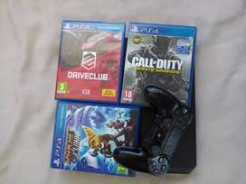 PS4 for sale with 3 games and a controller.