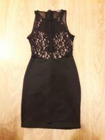 Sukienka czarna koronką, prześwitujące plecy bershka