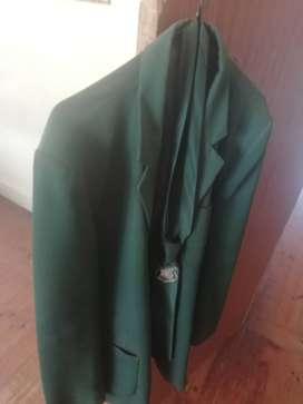 Selling green blazer and Season Academy High School tie.