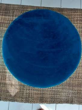 Suede fabric ottoman table